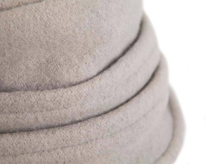 Warm grey woolen European Made bucket hat Fascinators.com.au