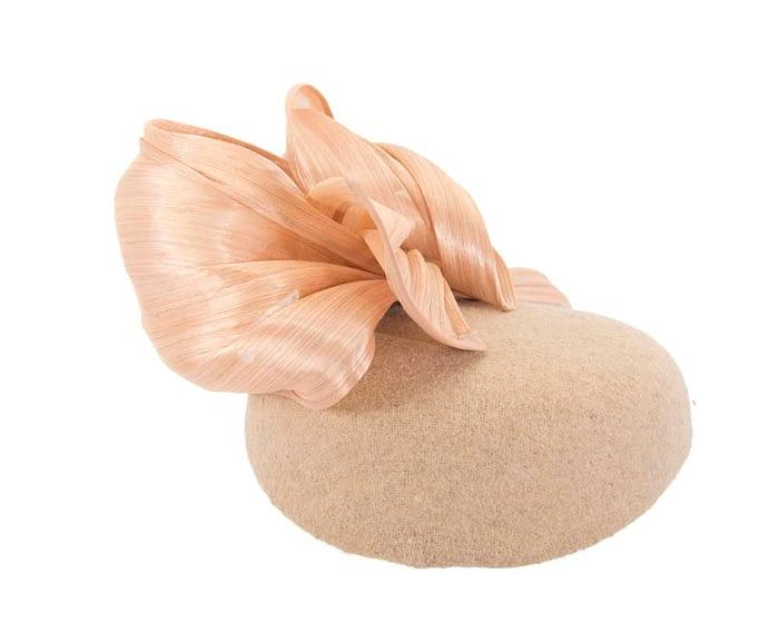 Beige pillbox with silk abaca bow Fascinators.com.au