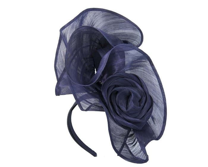 Exclusive navy silk abaca racing fascinator Fascinators.com.au