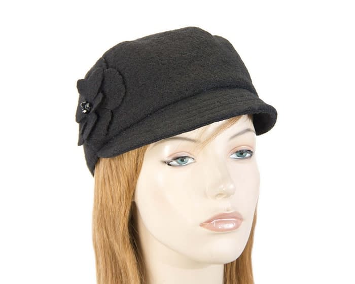 Soft black ladies winter cap Fascinators.com.au