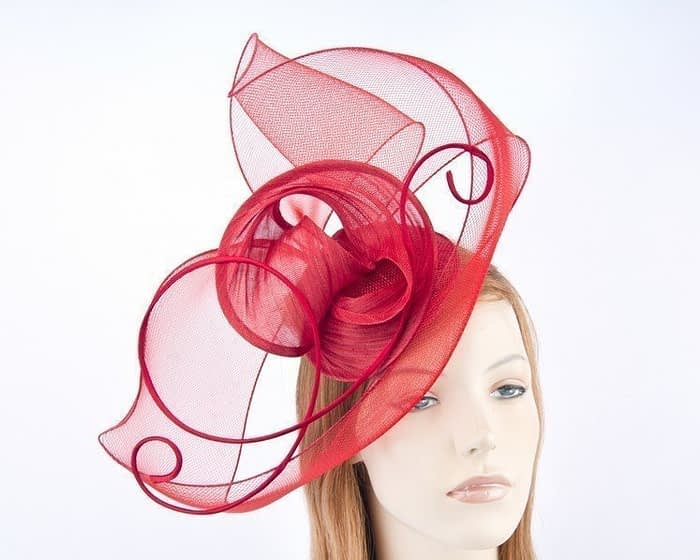 Red Australian made  fascinator for Melbourne Cup races S153R Fascinators.com.au