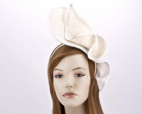 Unusual white racing fascinator MA662W Fascinators.com.au