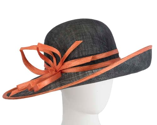Wide brim black & orange racing hat by Max Alexander Fascinators.com.au SP460 black orange