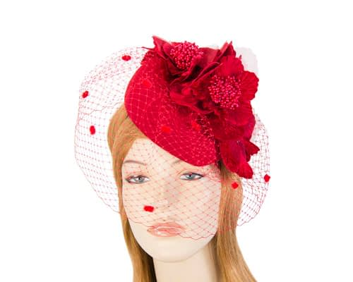 Red winter felt pillbox with face veil F574R Fascinators.com.au