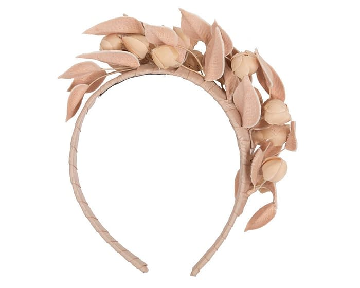Nude leather flower racing fascinator by Max Alexander Fascinators.com.au