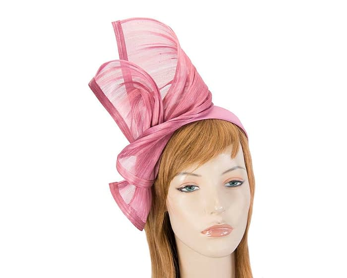 Twisted dusty pink silk abaca fascinator by Fillies Collection Fascinators.com.au S222 dusty pink