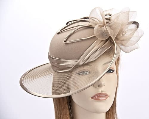 Buff Mother of the Bride hat Fascinators.com.au H861 buff1