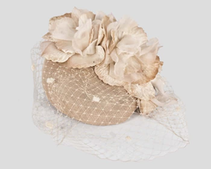 Nude flower pillbox with face veiling Fascinators.com.au