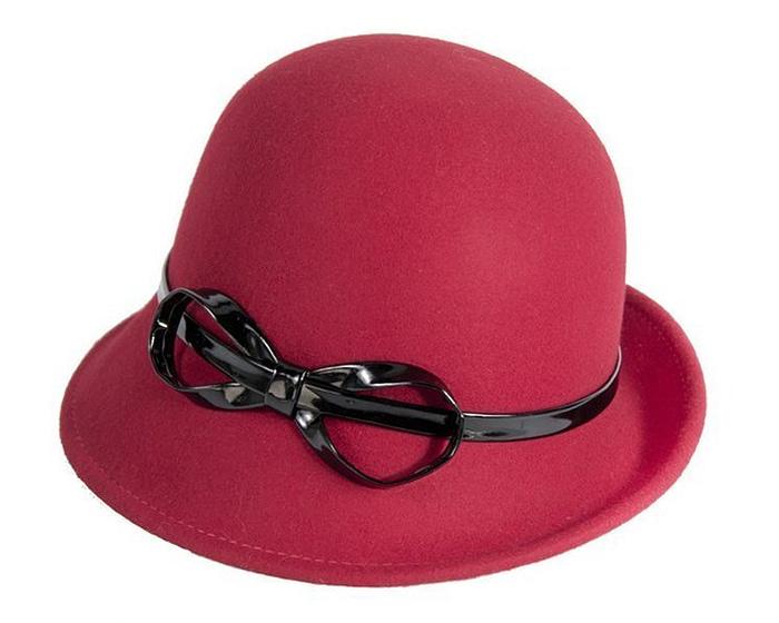 Red felt cloche hat Fascinators.com.au