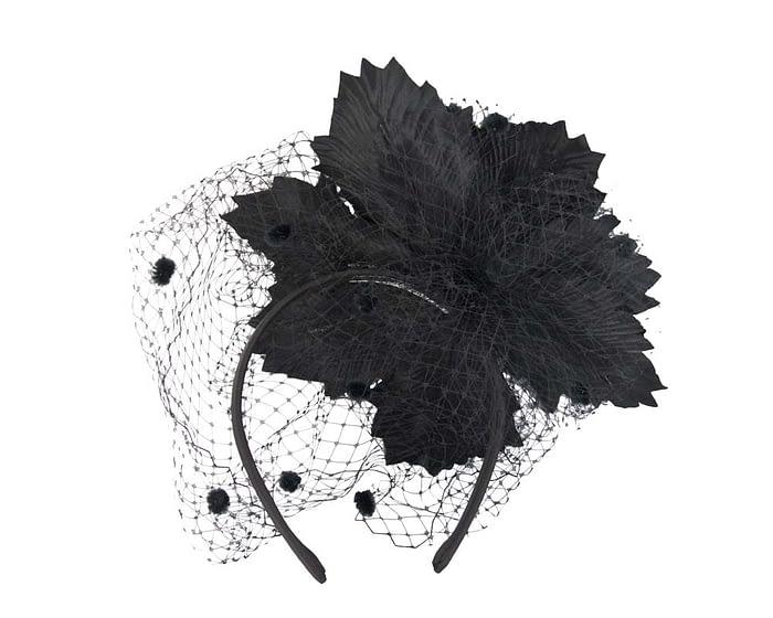 Black flower and face veiling fascinator Fascinators.com.au