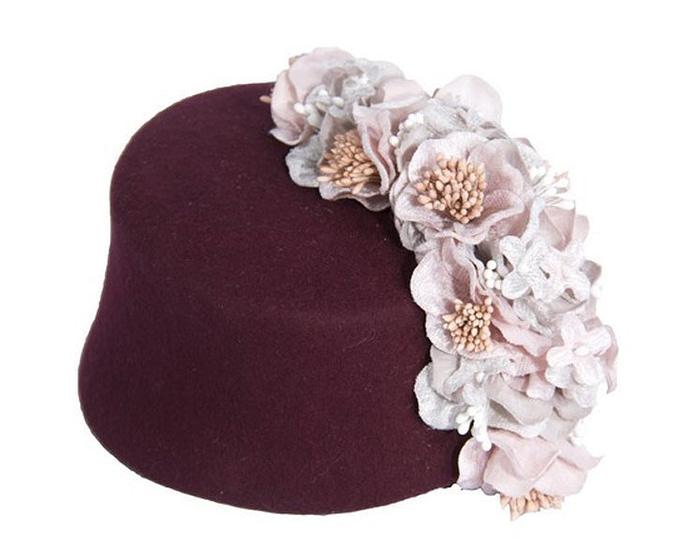 Burgundy & pink felt fascinator with cascade of flowers Fascinators.com.au