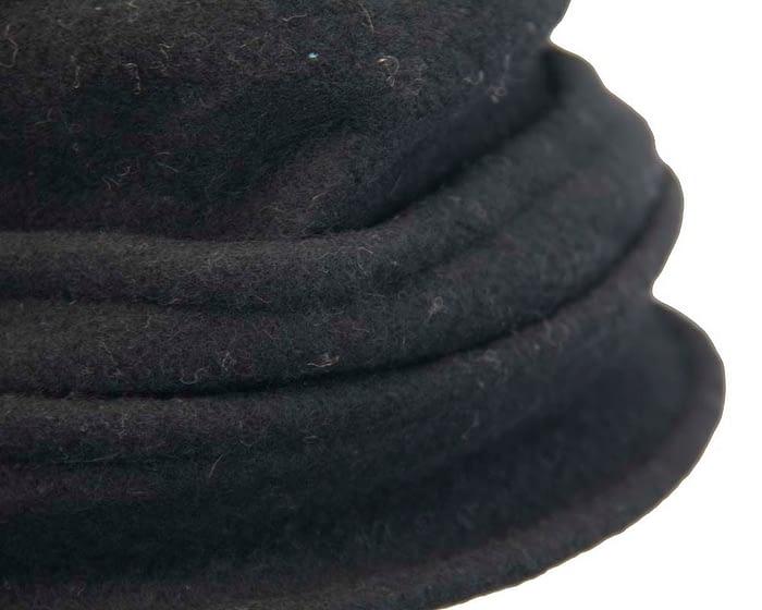 Warm black woolen European Made bucket hat Fascinators.com.au