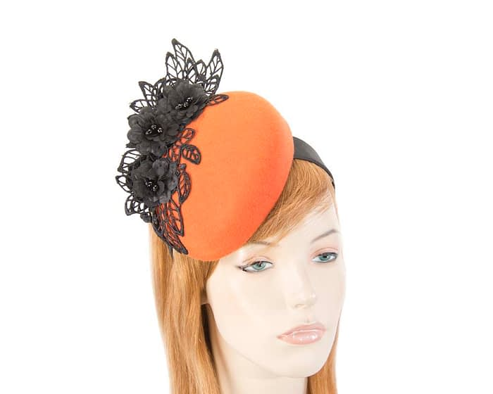 Orange & black lace winter pillbox fascinator Fascinators.com.au