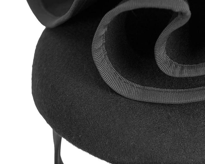 Black felt designers fascinator by Fillies Collection Fascinators.com.au
