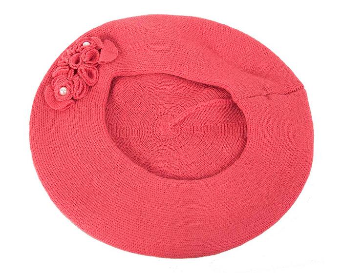 Warm coral wool beret. Made in Europe Fascinators.com.au
