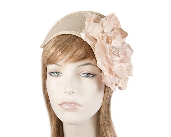 Beige winter headband with flower Fascinators.com.au