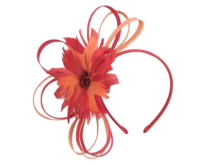 Red & Orange feather flower racing fascinator by Max Alexander Fascinators.com.au
