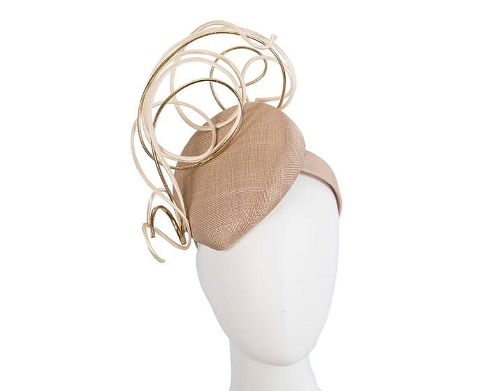 Bespoke nude & gold wire loops pillbox racing fascinator by Fillies Collection Fascinators.com.au