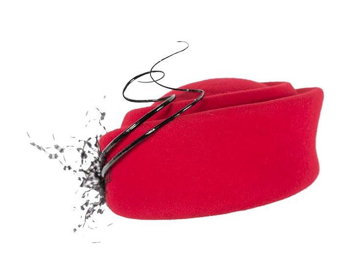 Red Jackie Onassis style felt pillbox F572R Fascinators.com.au