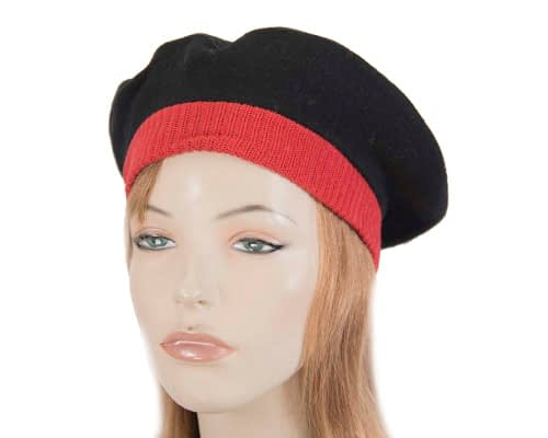Warm black and red woolen embroidered European Made beret Fascinators.com.au