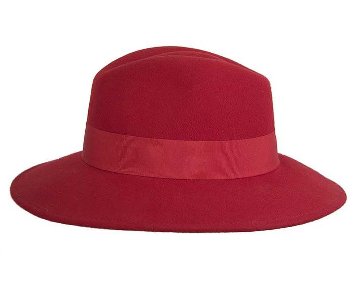 Wide brim red felt fedora with studs by Max Alexander Fascinators.com.au