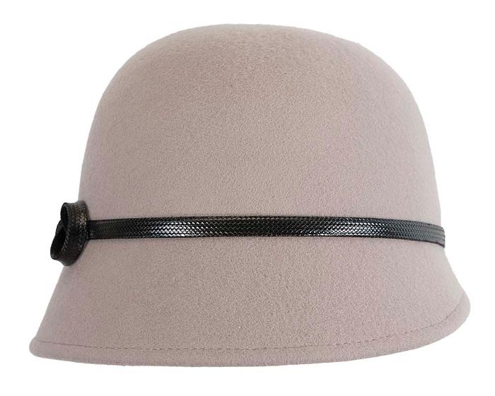 Grey felt bucket hat by Max Alexander Fascinators.com.au