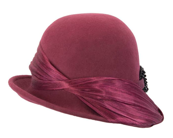 Australian made burgundy wine felt bucket hat Fascinators.com.au