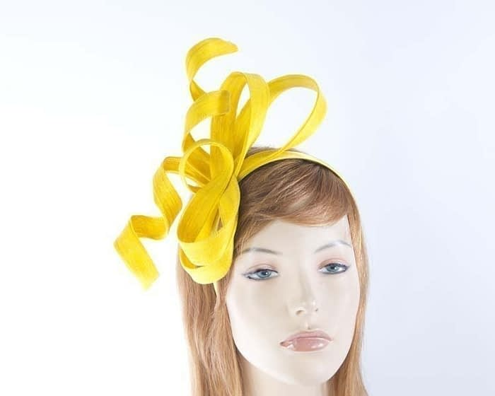 Australian made yellow Fillies Collection racing fascinator for Melbourne Cup S169Y Fascinators.com.au