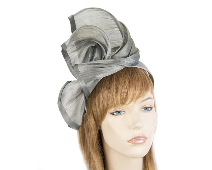 Twisted silver silk abaca fascinator by Fillies Collection Fascinators.com.au