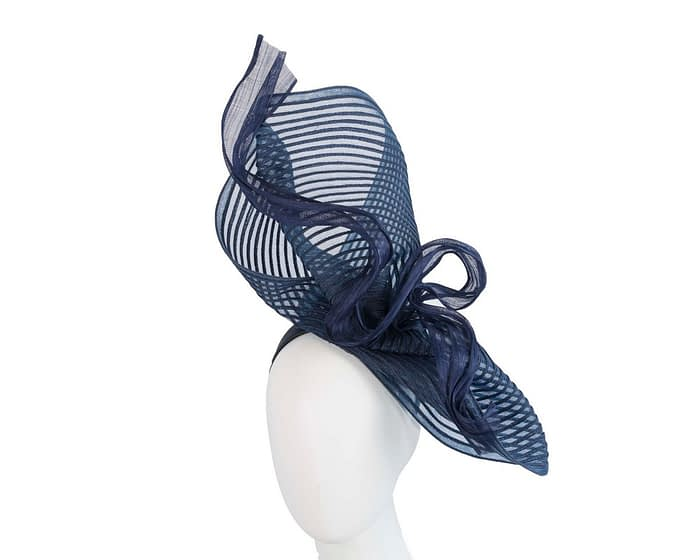 Tall twirl navy racing fascinator by Fillies Collection Fascinators.com.au
