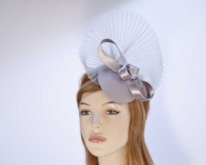 Grey fascinator pillbox for special occasion K5014G Fascinators.com.au