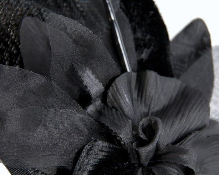 Black fascinator with flower Fascinators.com.au