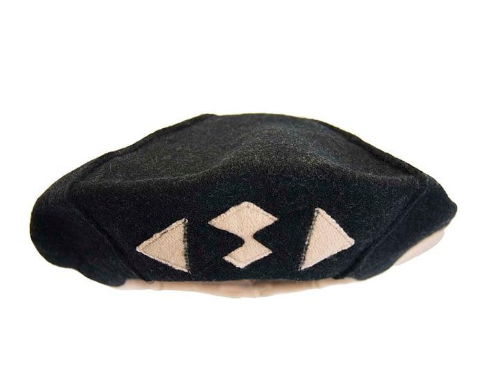 Warm beige and black woolen European Made beret Fascinators.com.au