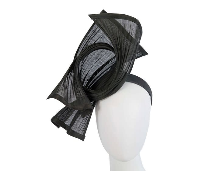 Bespoke black jinsin waves racing fascinator by Fillies Collection Fascinators.com.au