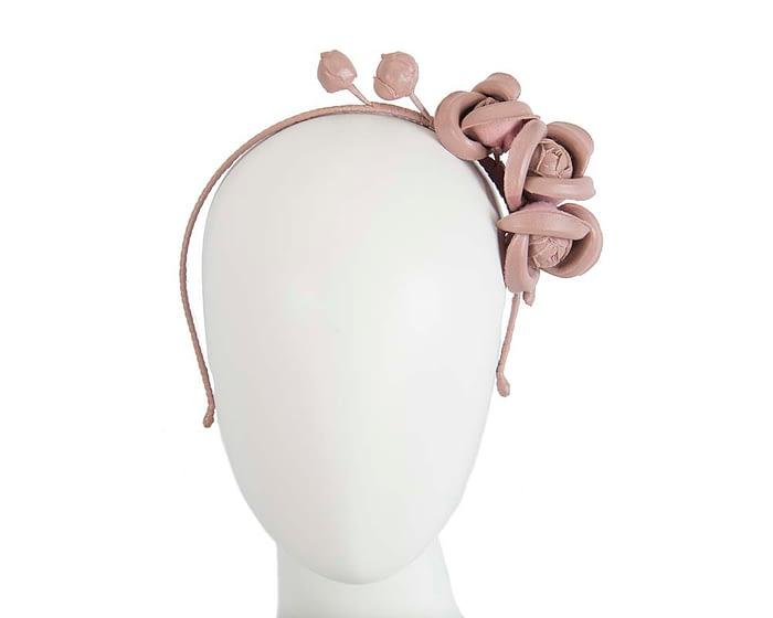Taupe leather flower headband fascinator Fascinators.com.au
