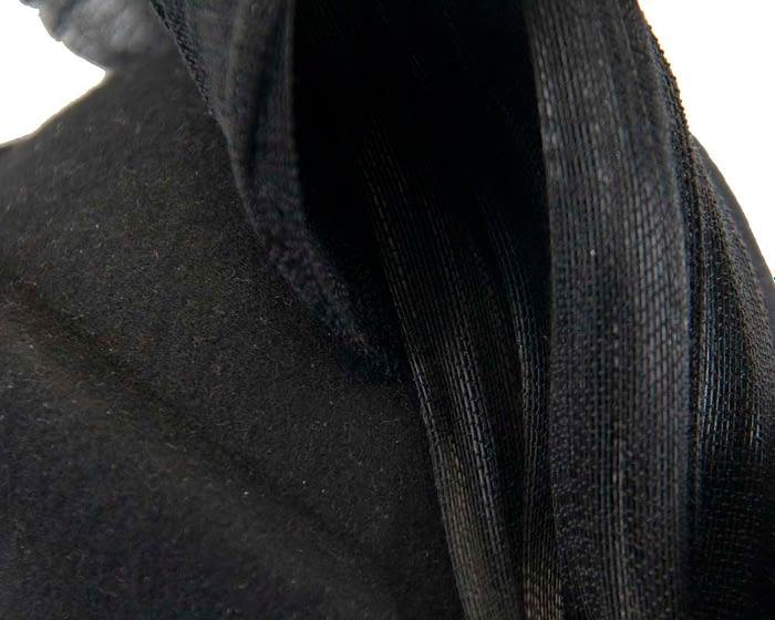 Black felt stewardess pillbox with silk abaca bow Fascinators.com.au