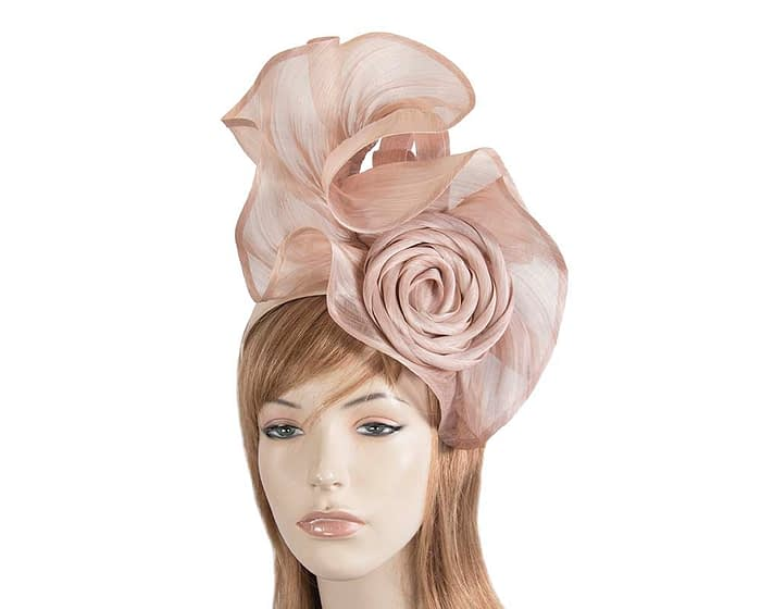 Exclusive blush silk abaca racing fascinator Fascinators.com.au