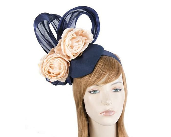 Bespoke navy & nude felt racing fascinator Fascinators.com.au