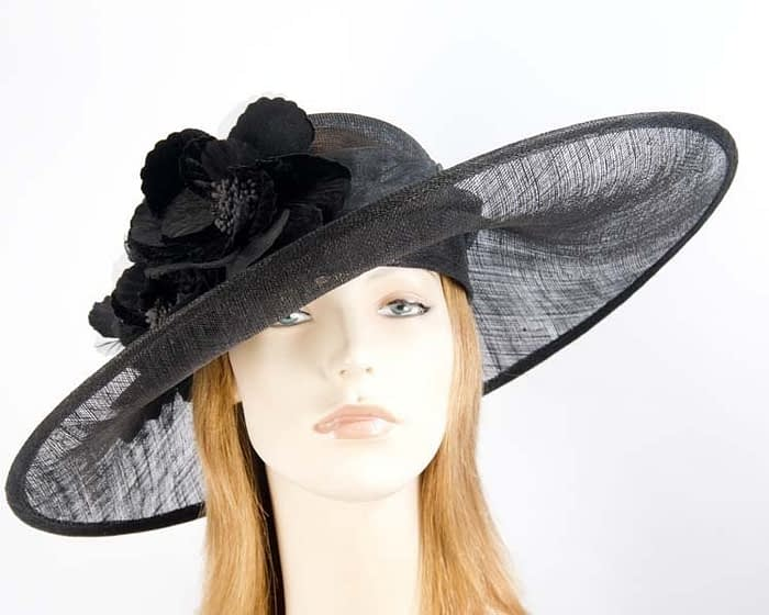 Black ladies hat for races & special occasions Fascinators.com.au
