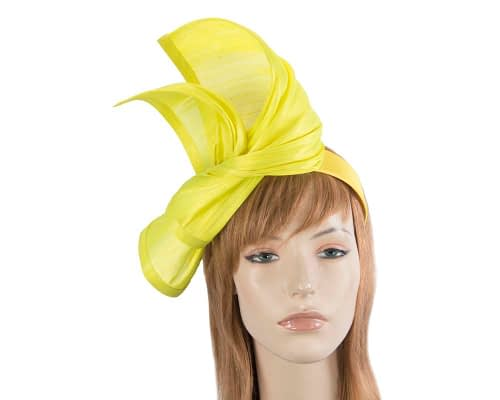 Twisted yellow silk abaca fascinator by Fillies Collection Fascinators.com.au