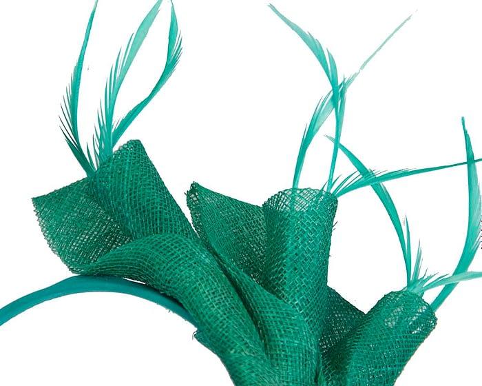 Green sinamay twists with feathers fascinator Fascinators.com.au