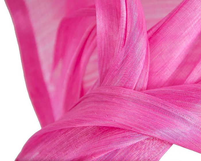 Twisted hot pink silk abaca fascinator by Fillies Collection Fascinators.com.au