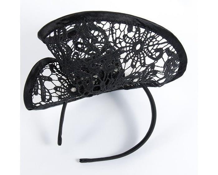 White & black lace headpiece Fascinators.com.au