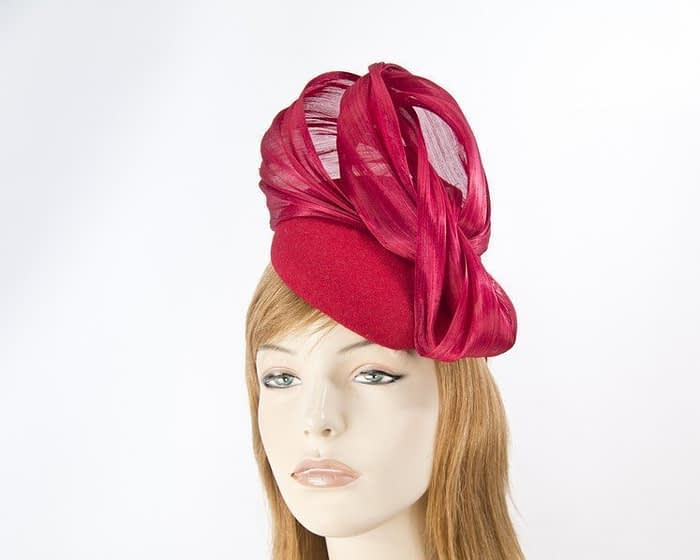 Red racing winter pillbox with bow Fascinators.com.au
