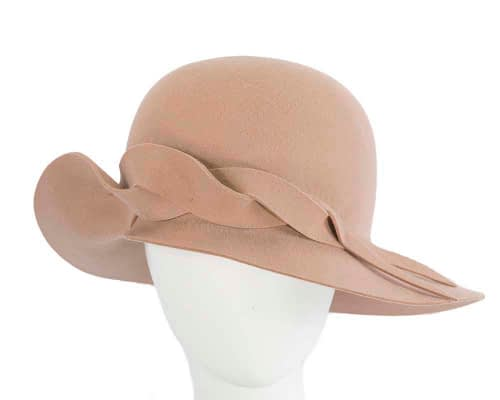 Unusual wide brim beige felt hat by Max Alexander Fascinators.com.au