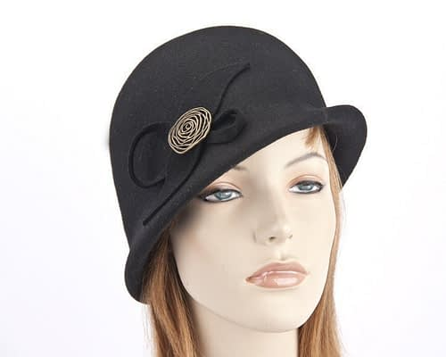 Black felt bucket hat with brass buckle J302B Fascinators.com.au