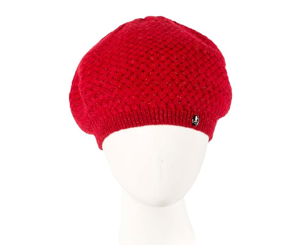 Classic warm crocheted red wool beret. Made in Europe Fascinators.com.au