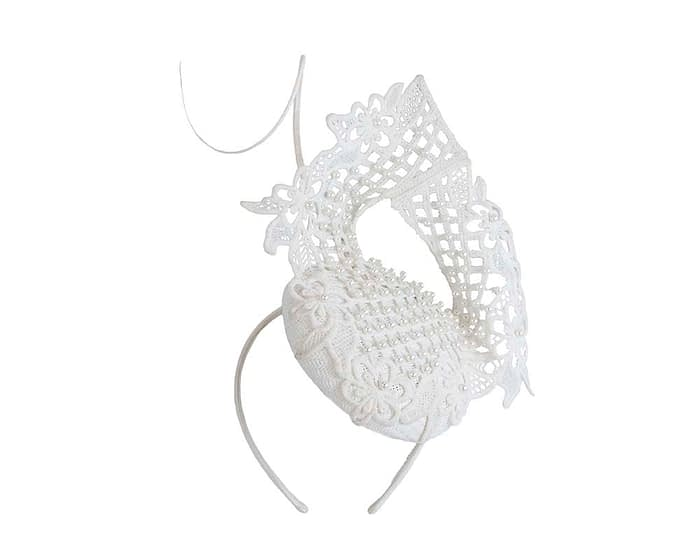 Ivory lace pillbox fascinator by Fillies Collection Fascinators.com.au