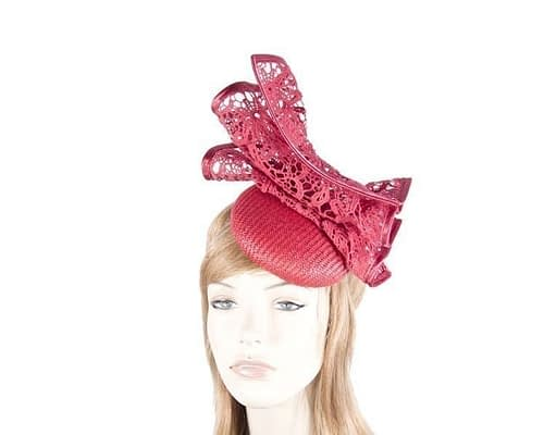 Red pillbox fascinator for races by Fillies Collection S166R Fascinators.com.au