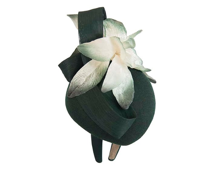 Bespoke green pillbox winter fascinator with cream flower by Fillies Collection Fascinators.com.au